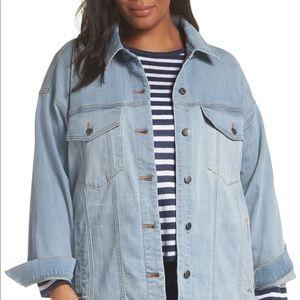 NWOT Eileen Fisher oversize long light wash jacket